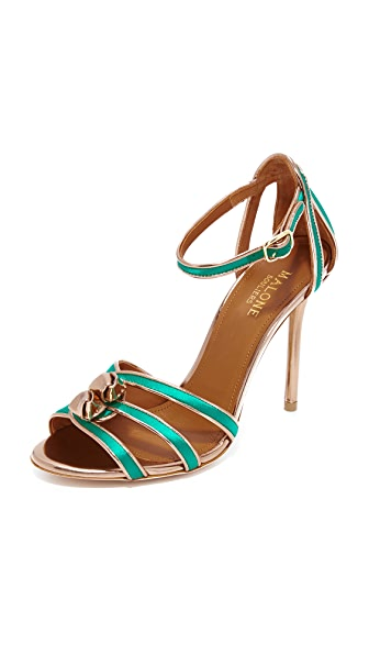 Malone Souliers Eunice Sandals - Emerald/Rose Gold
