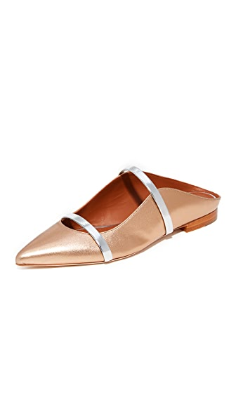 Malone Souliers Maureen Flat Slides In Gold/Silver