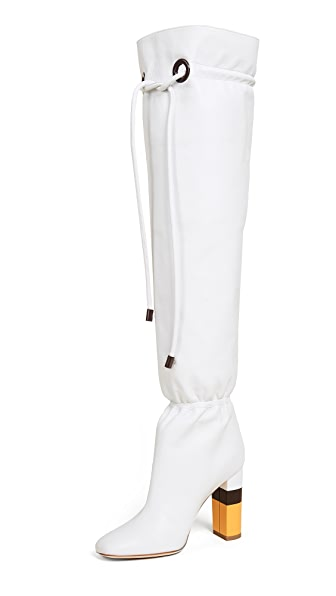 Malone Souliers Kendas Tie Boots In Ivory
