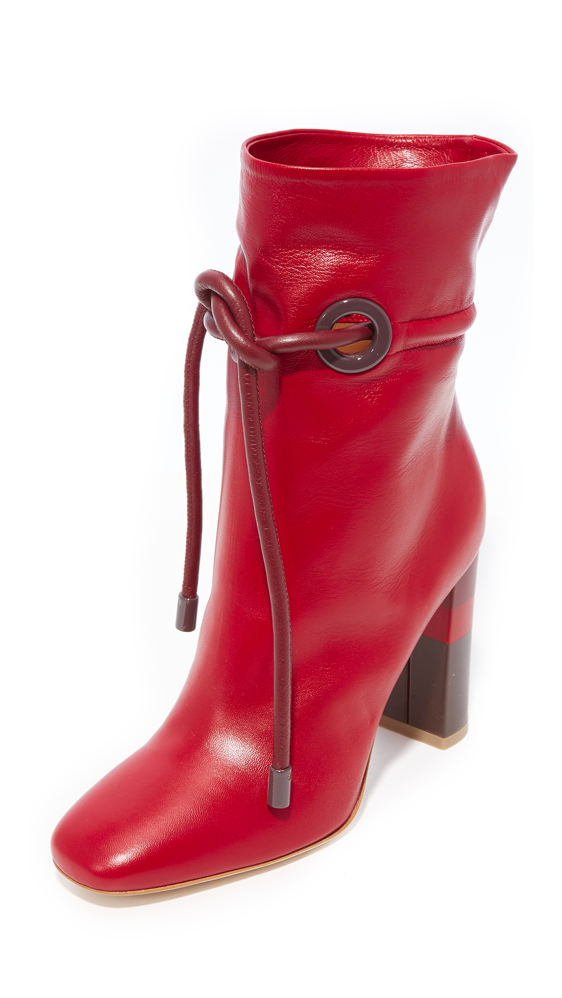 Malone Souliers Dolly Tie Booties - Red/Burgundy