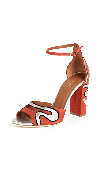 Malone Souliers Nina Strappy Pumps In Terracotta/Midnight/Silver
