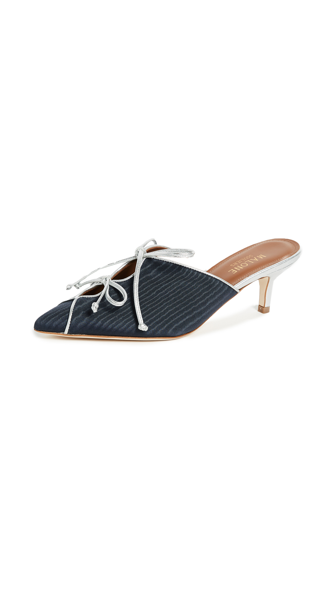 Malone Souliers Victoria Mules - Navy/Silver