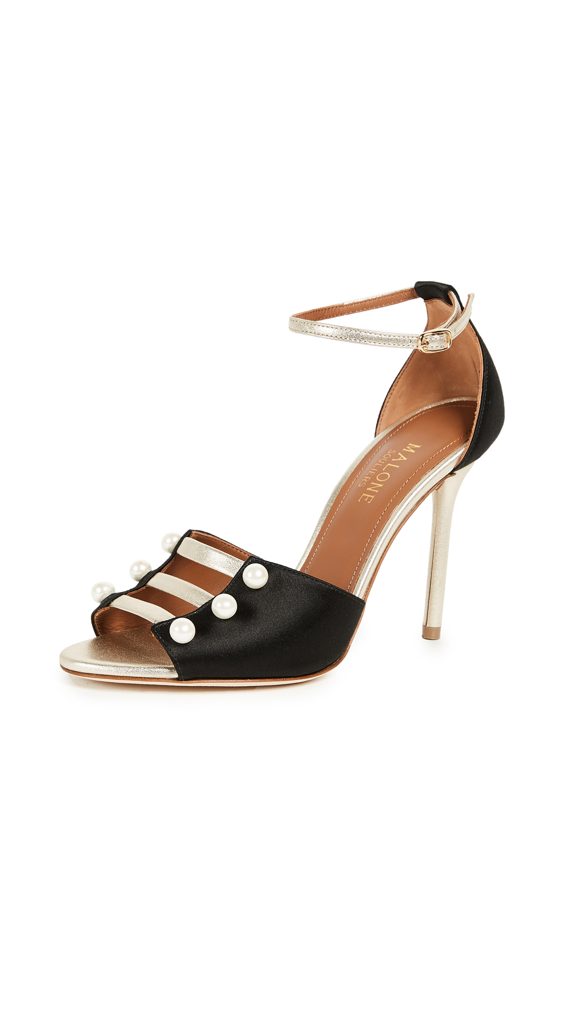 Malone Souliers Zuzu 100mm Sandals - Black/Platino