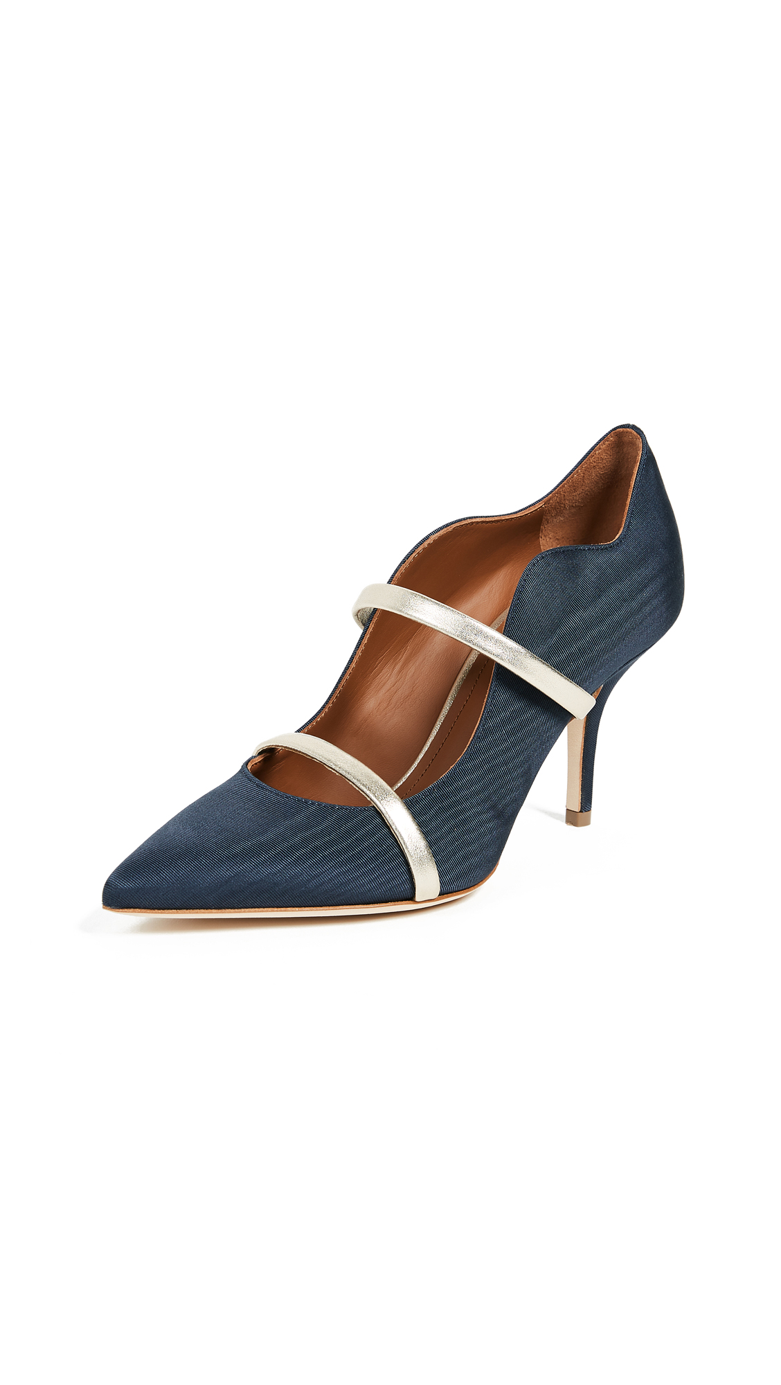 Malone Souliers Maureen 70mm Pump - Navy/Silver