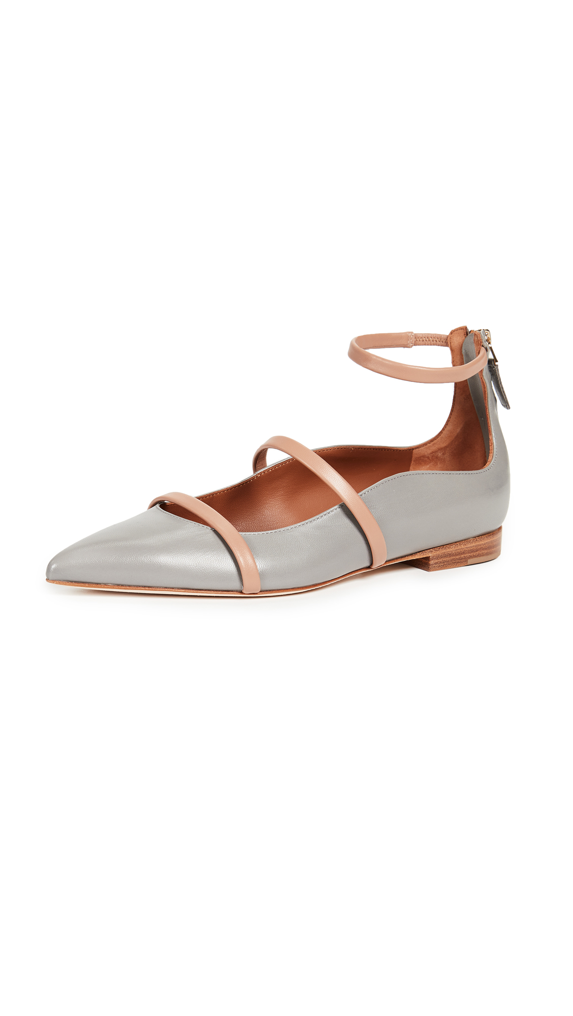 Malone Souliers Robyn Flats - Grey/Nude
