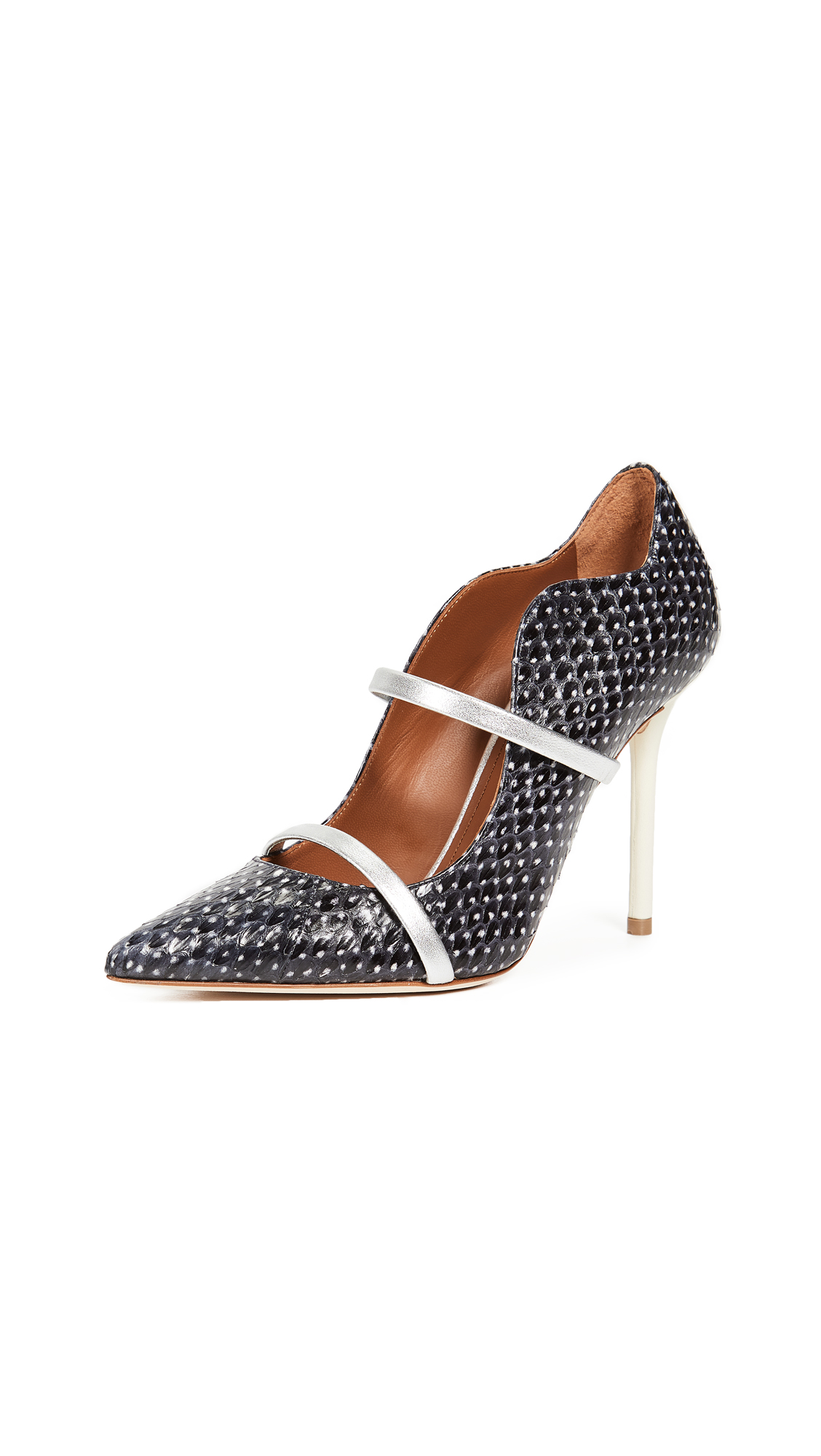 Malone Souliers Snakeskin Maureen Pumps - Black/White/Silver/White