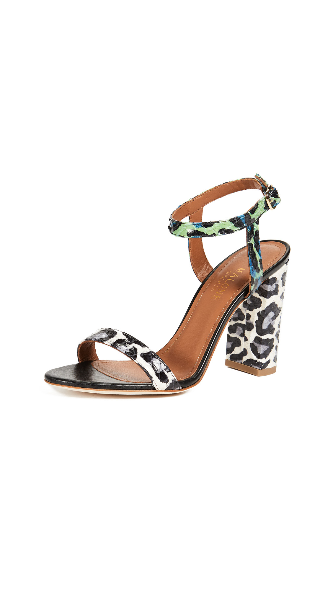 Malone Souliers Ladida Sandal - Grey/Green Leopard/Black