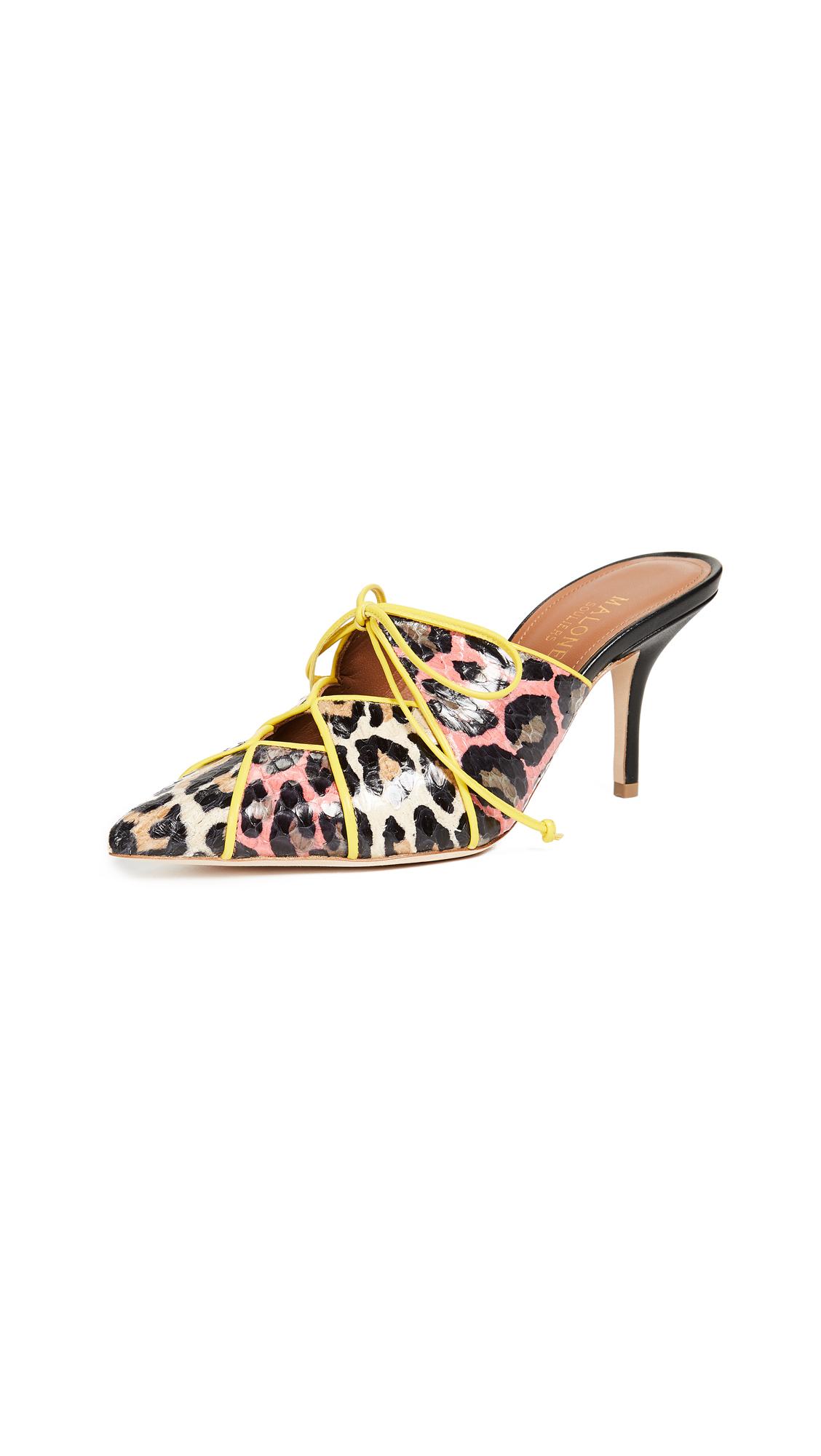 Malone Souliers Lulu Mules - Red/Beige Leopard/Yellow/Black