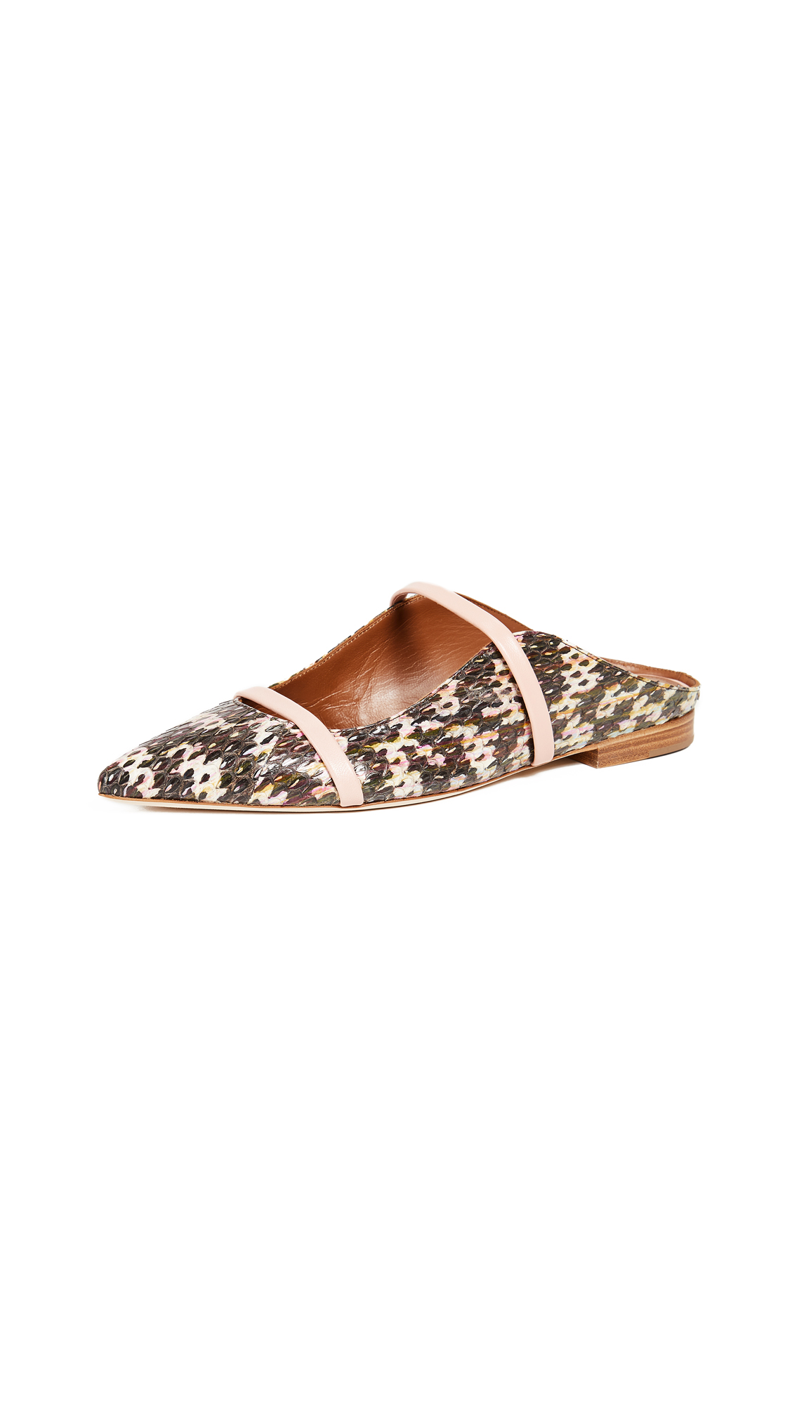 Malone Souliers Snakeskin Maureen Flats - Multi Color/Peonia