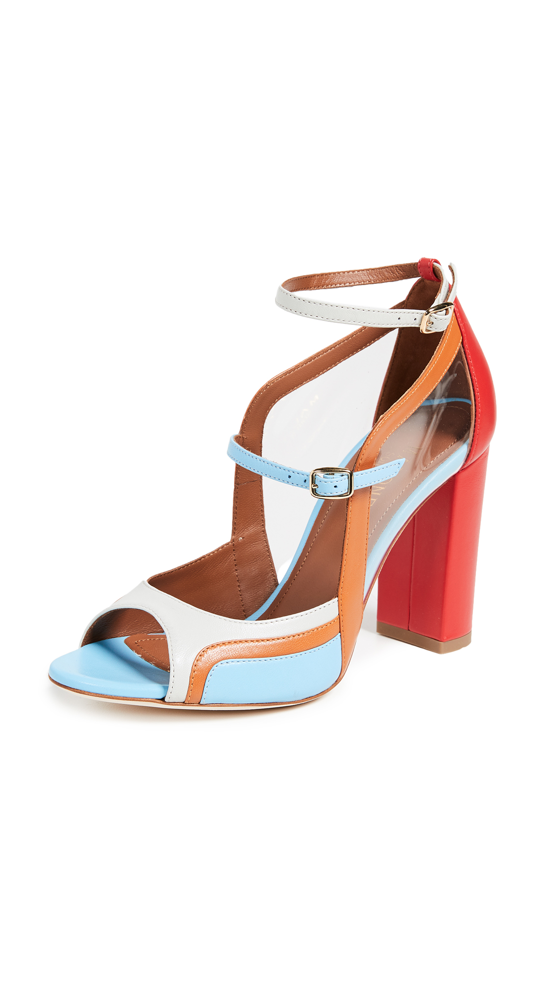 Malone Souliers Flan Peep Toe Pumps - Flame/Cocoa/Powder Blue/Ice
