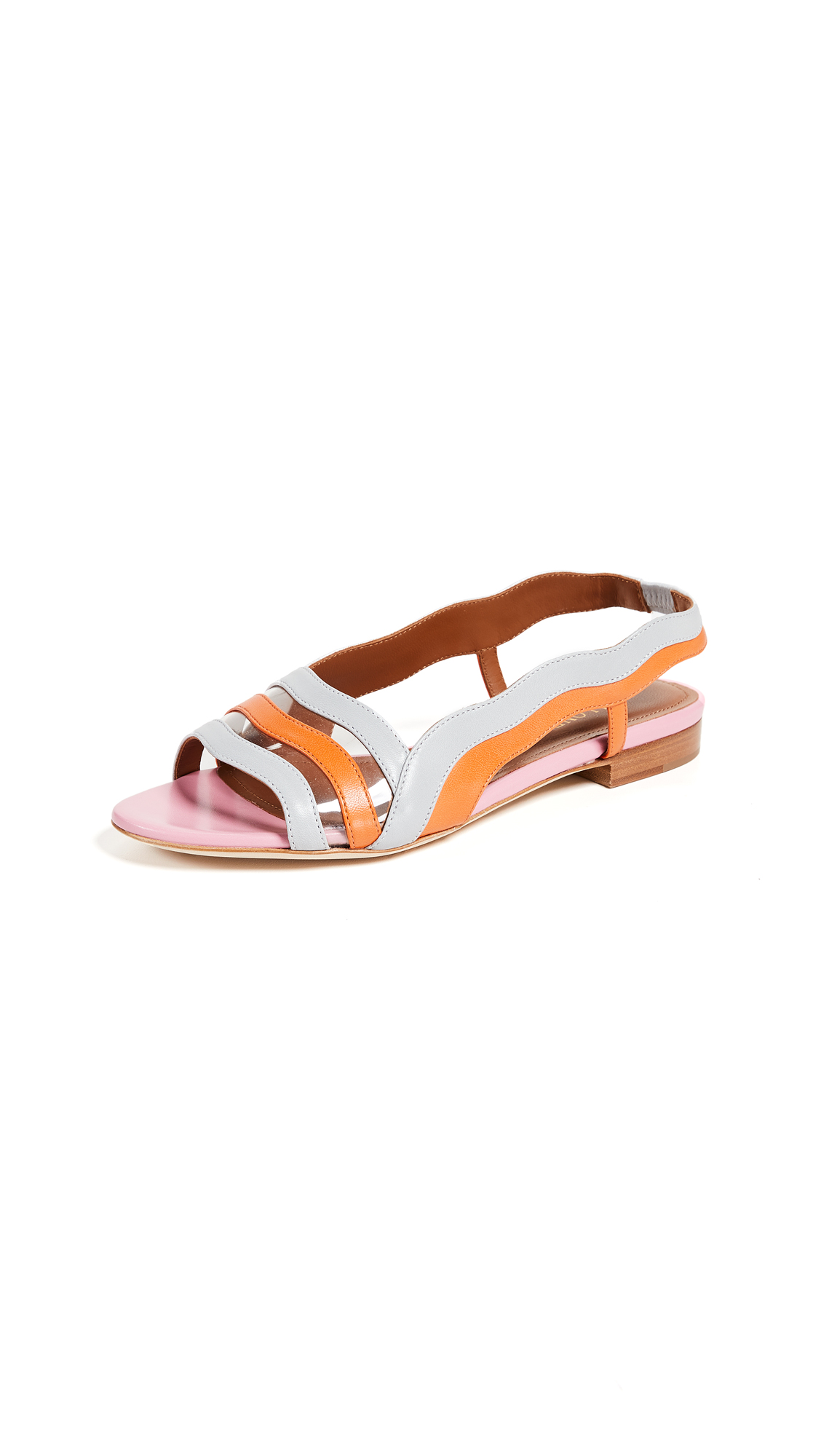 Malone Souliers by Roy Luwolt Flameana Flats - Grey/Orange/Pink