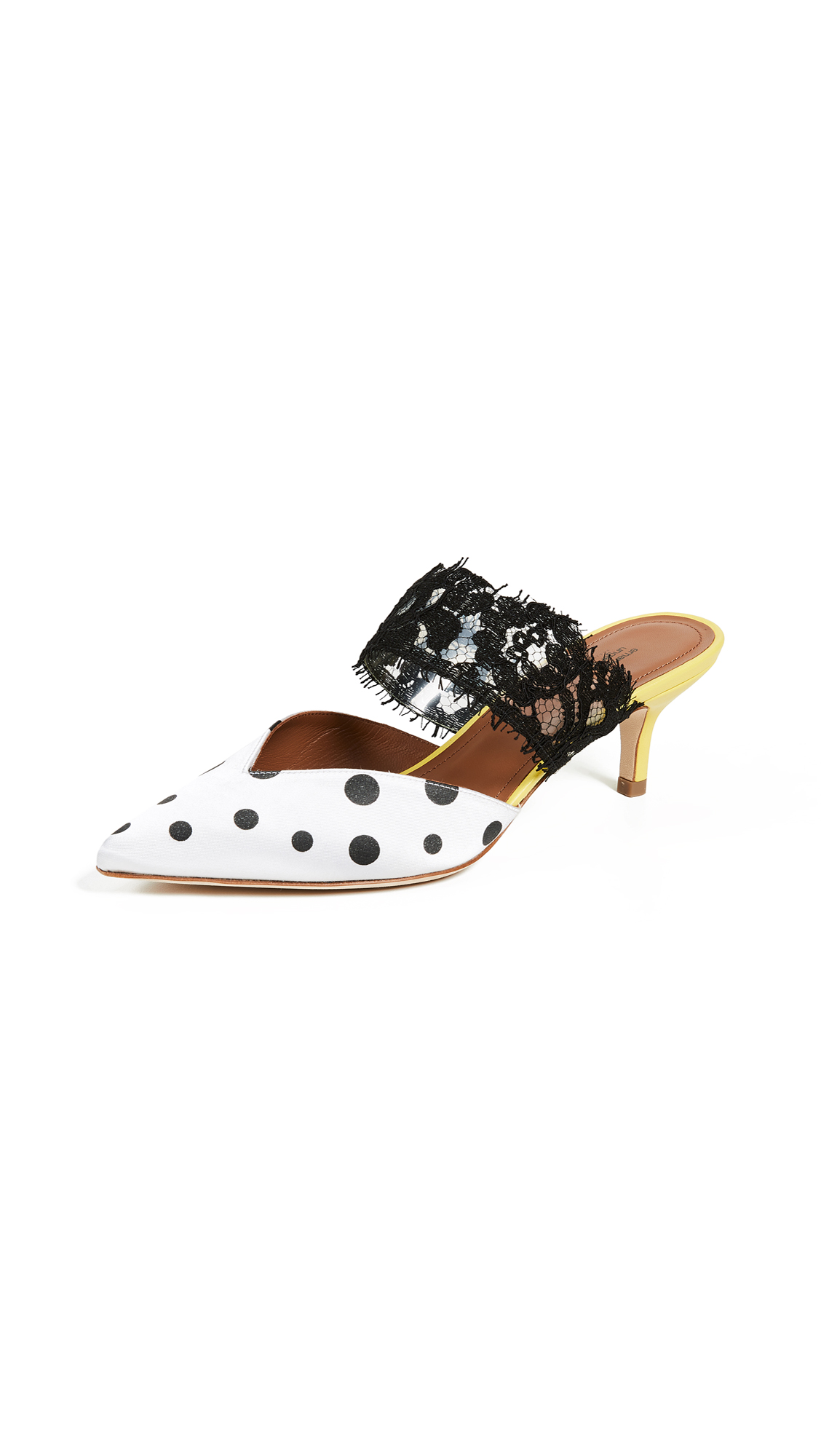 Malone Souliers Maisie Ungaro Mules - White/Black Dots/Yellow