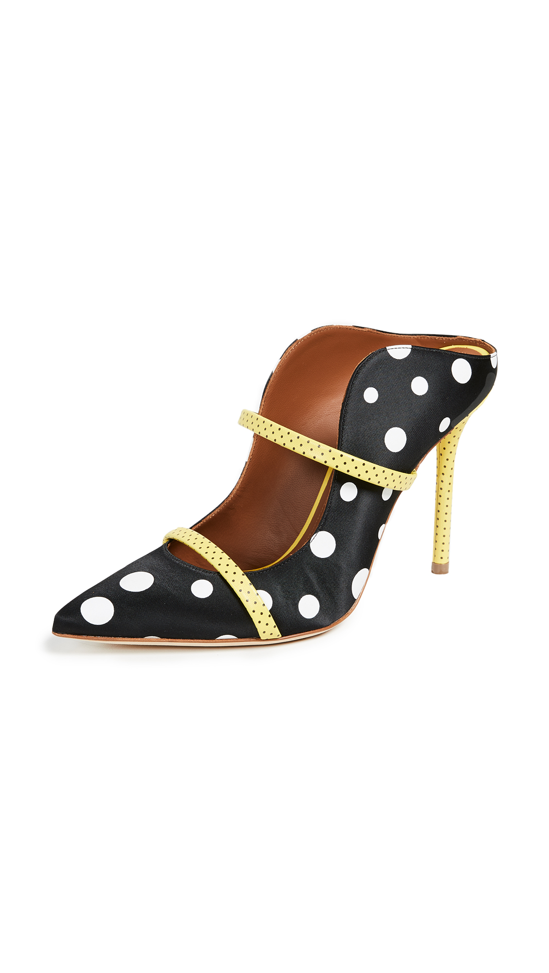 Malone Souliers Maureen Ungaro Mules - Black/White Dots/Yellow Dots