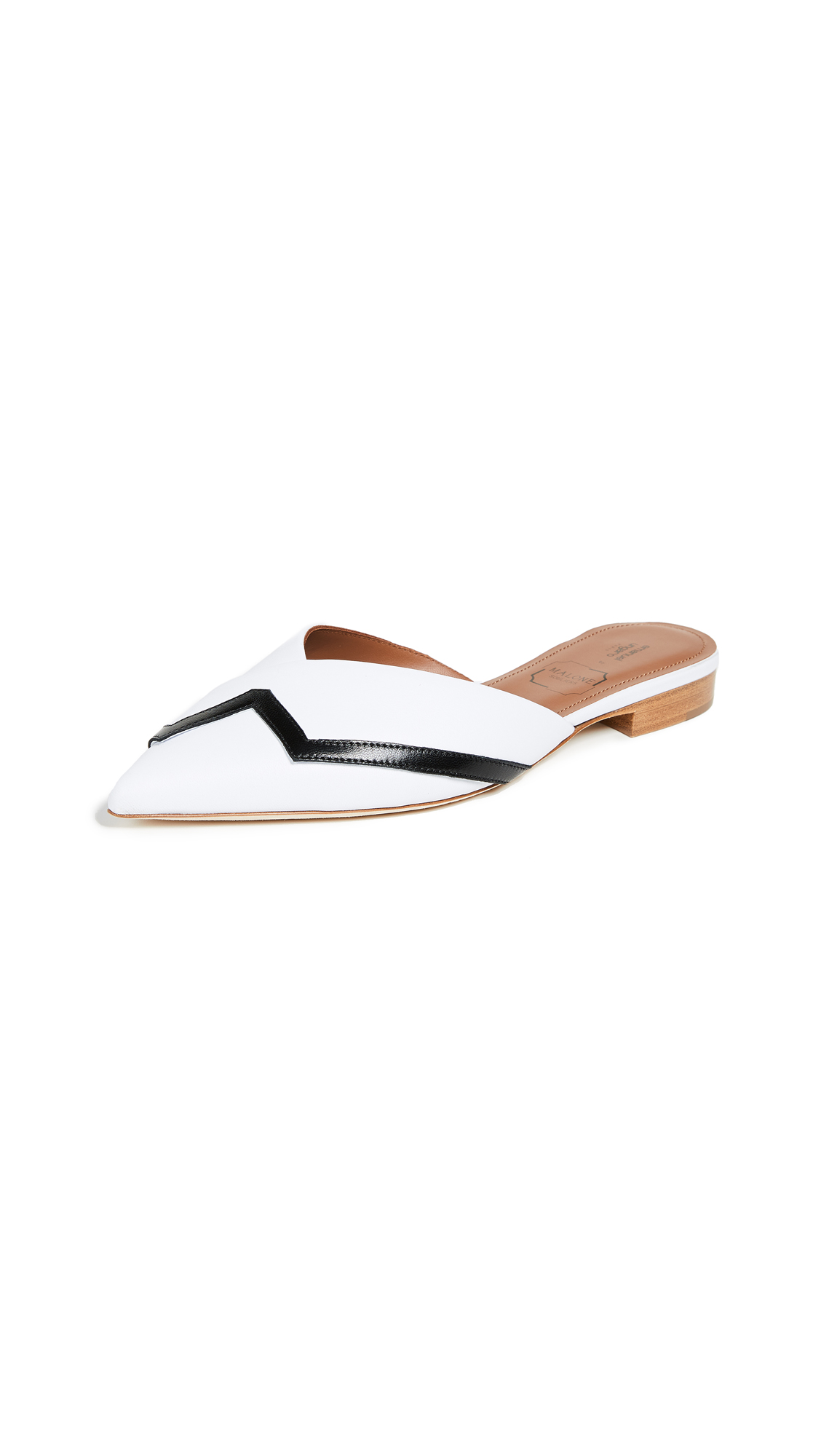 Malone Souliers Amelie Flat Mules - Black/White
