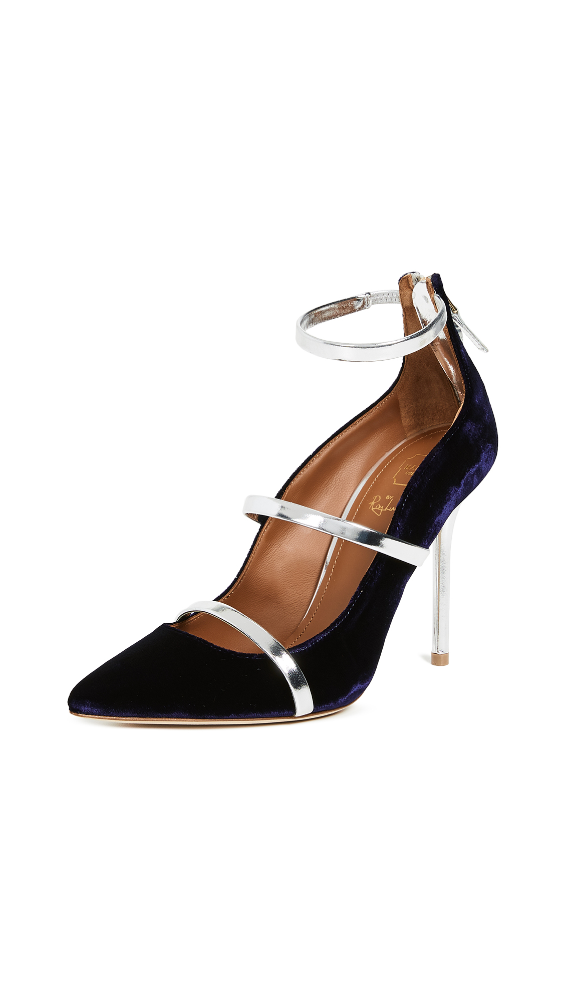 Malone Souliers by Roy Luwolt Robyn 100mm Pumps - Navy/Silver