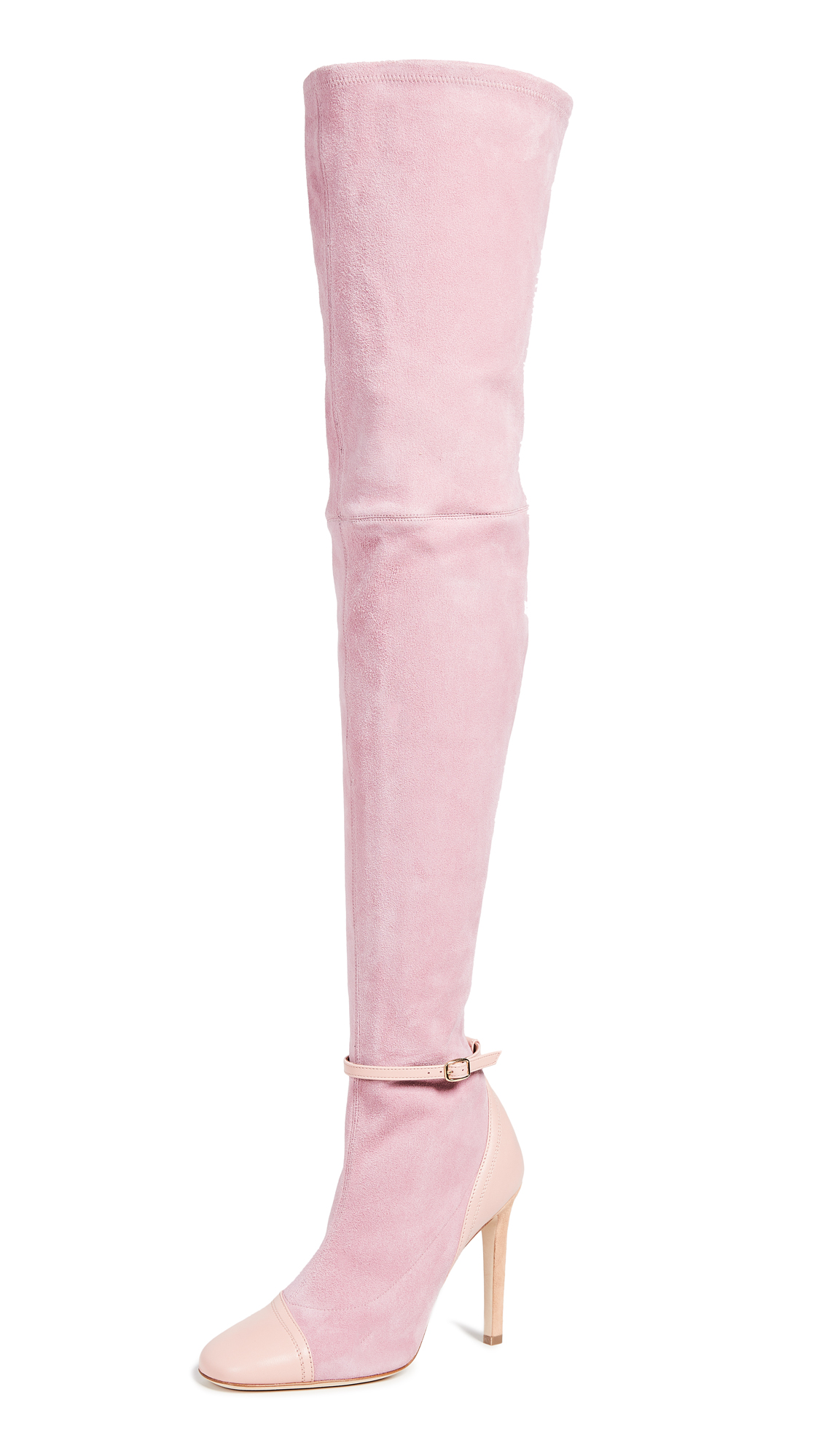Malone Souliers Ronya Over the Knee Roksanda Boots - Pink/Dust Pink