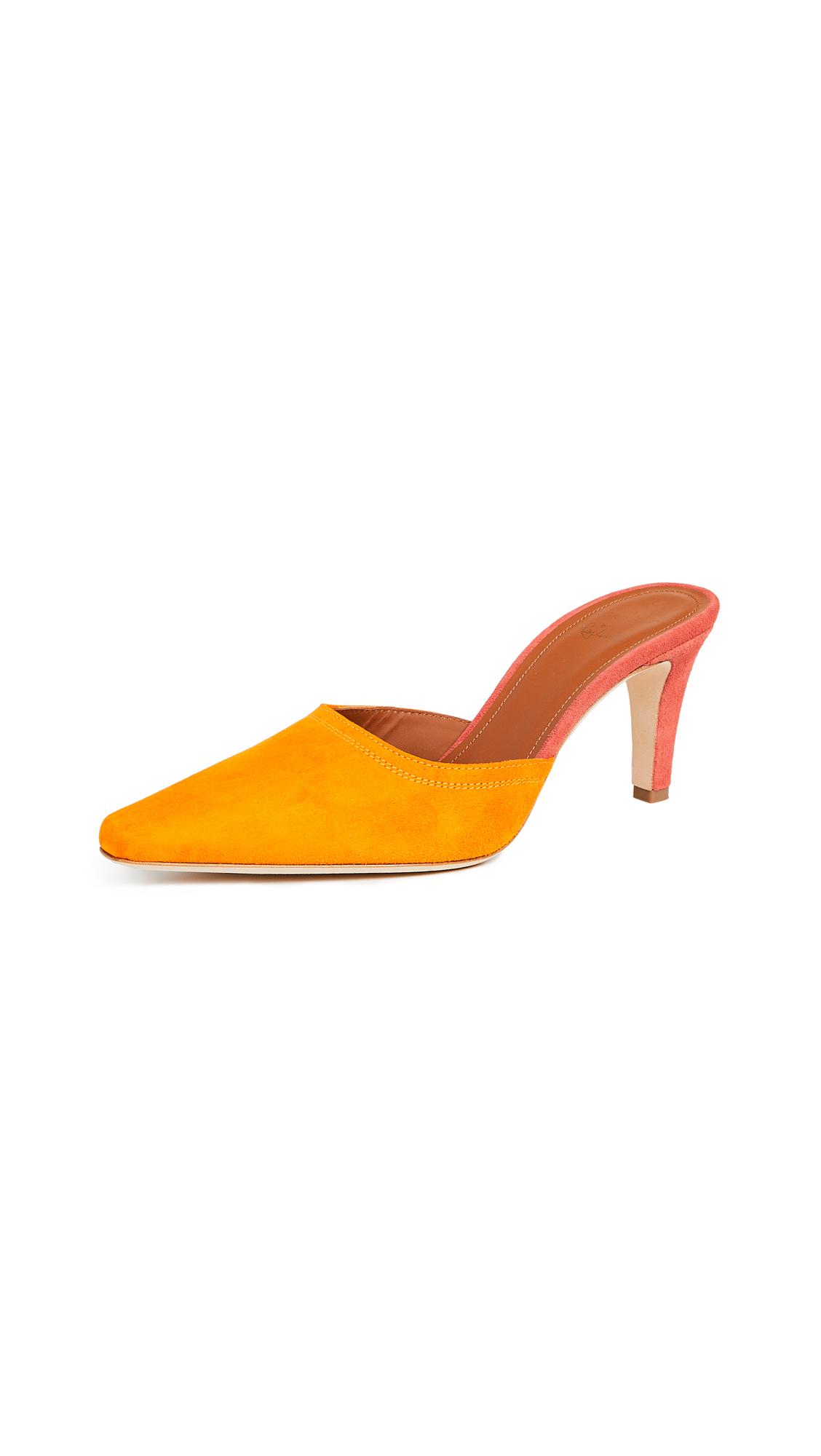 Malone Souliers by Roy Luwolt Riona Roksanda Mules - Orange/Grapefruit
