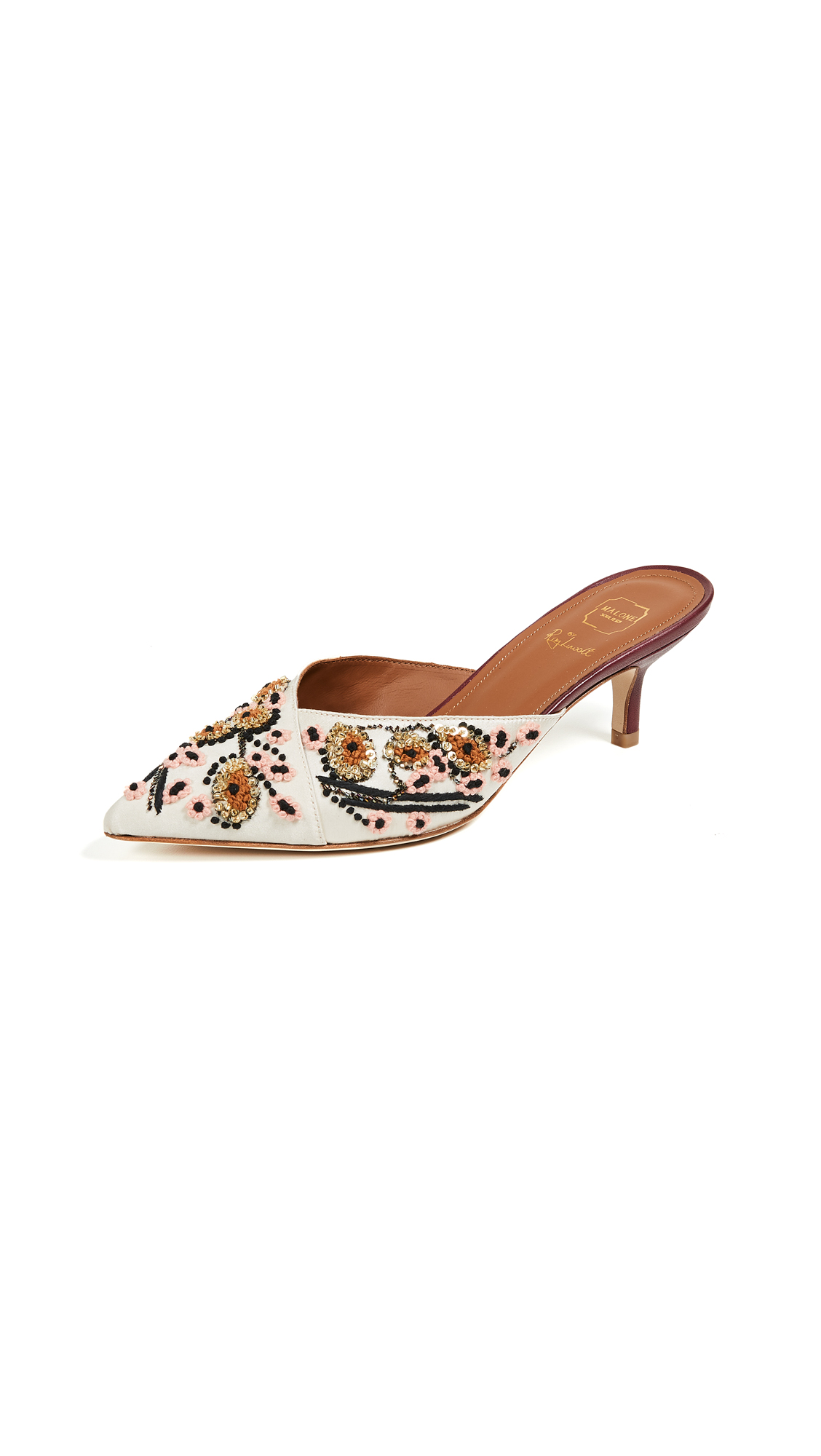 Malone Souliers by Roy Luwolt Portia Mules - Peach/Gold/Burgundy