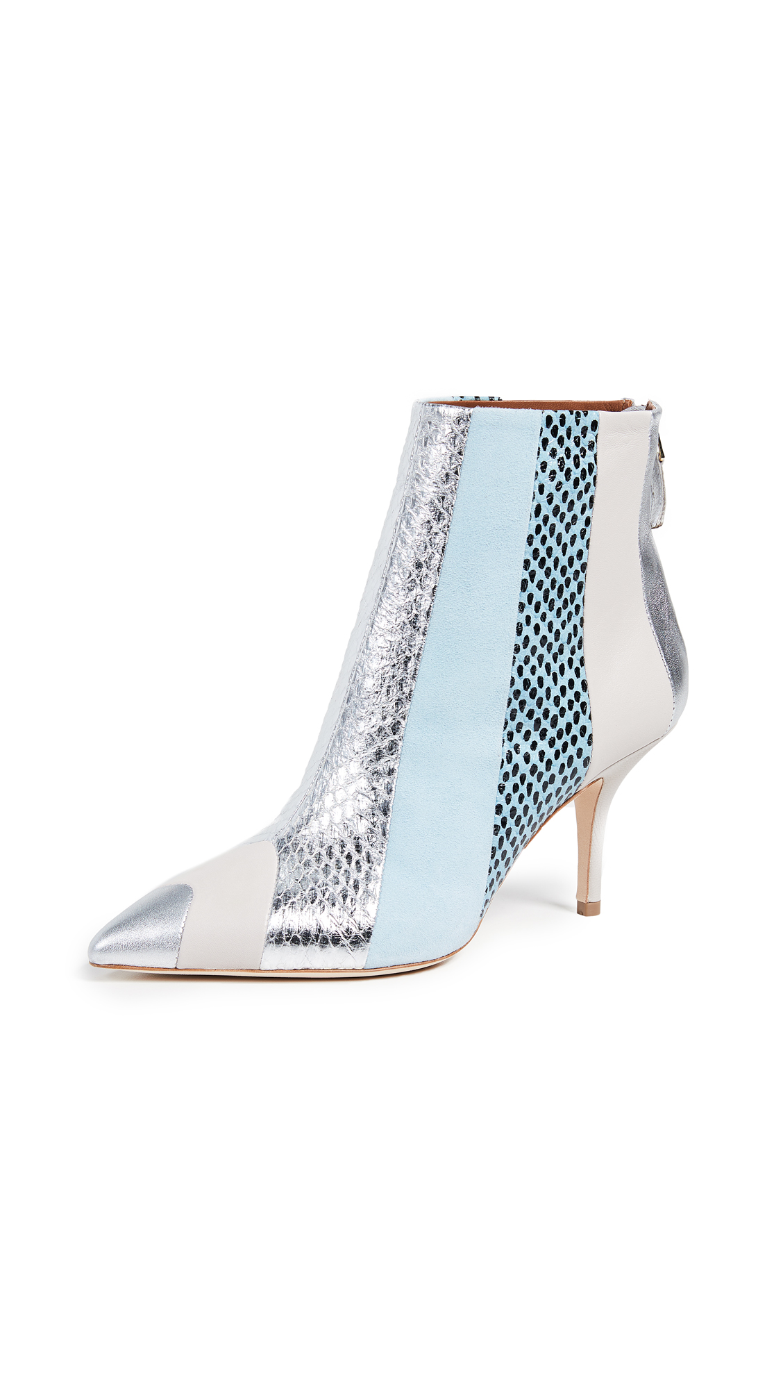 Malone Souliers Amal 70 Booties - Silver/Ice/Light Blue