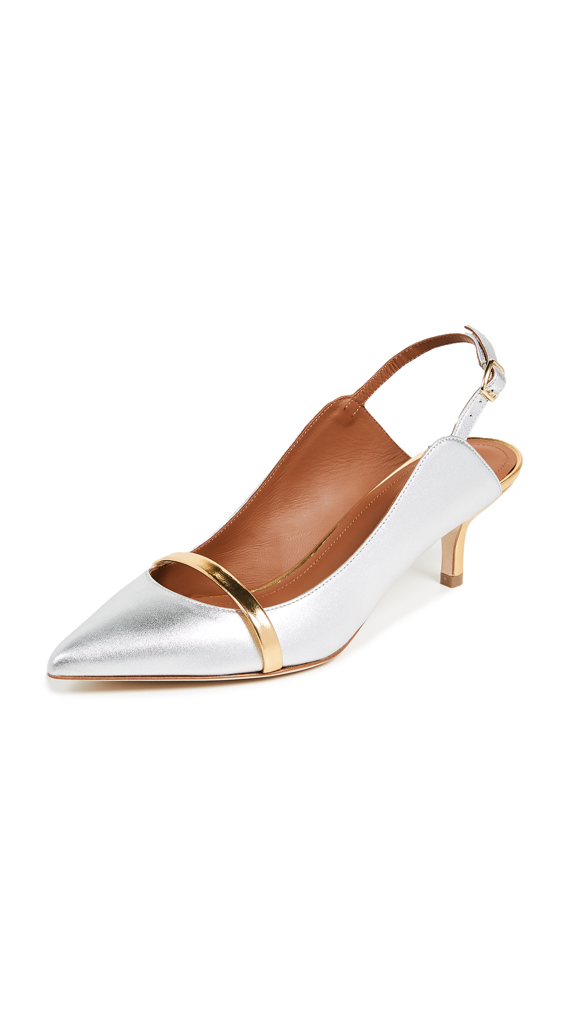 Malone Souliers Marion 45 Slingback Pumps - Silver/Gold