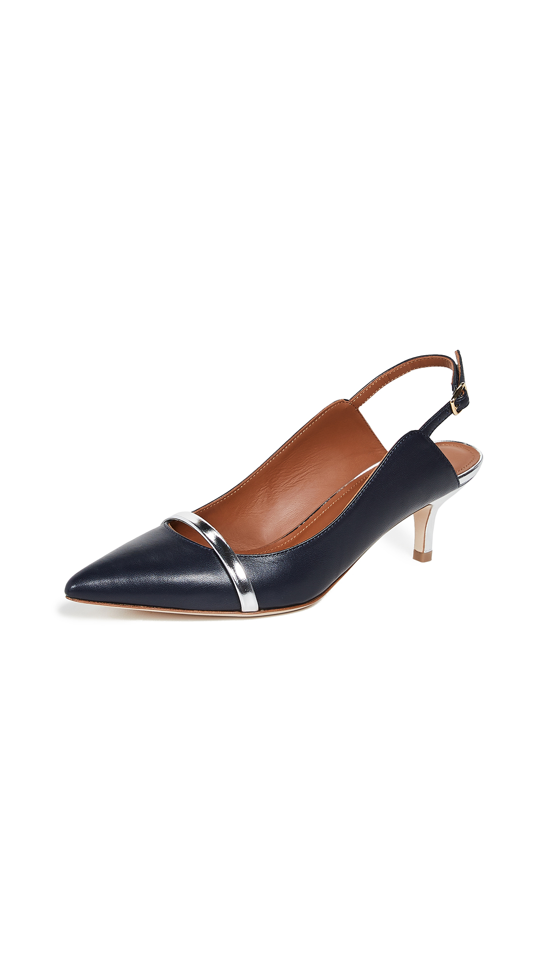 Malone Souliers Marion 45 Slingback Pumps - Navy/Silver