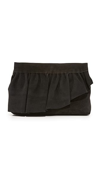 Marie Turnor Accessories Ruffle Clutch - Black