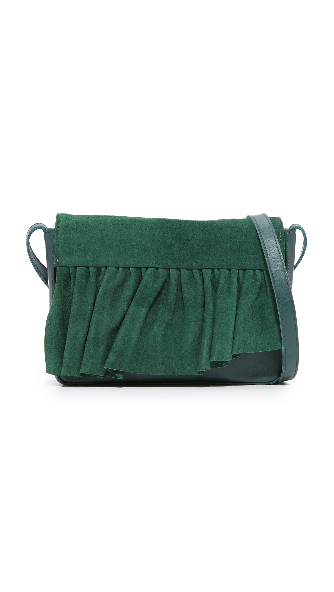 Marie Turnor Accessories Small Ruffle Cross Body Bag - Forest