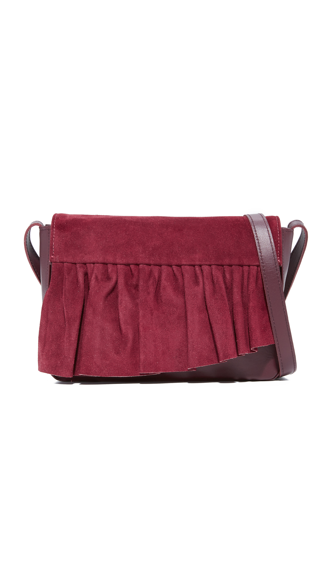 Marie Turnor Accessories Small Ruffle Cross Body Bag - Burgundy