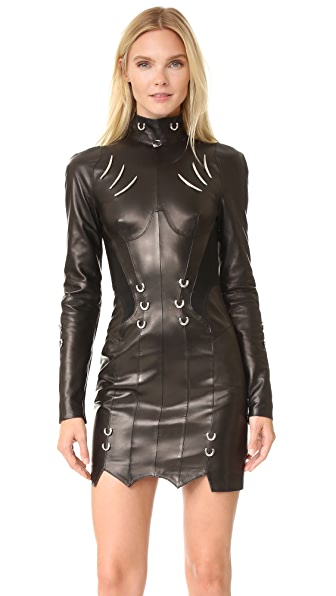 Mugler Long Sleeve Leather Dress | 15% off first app purchase with ...