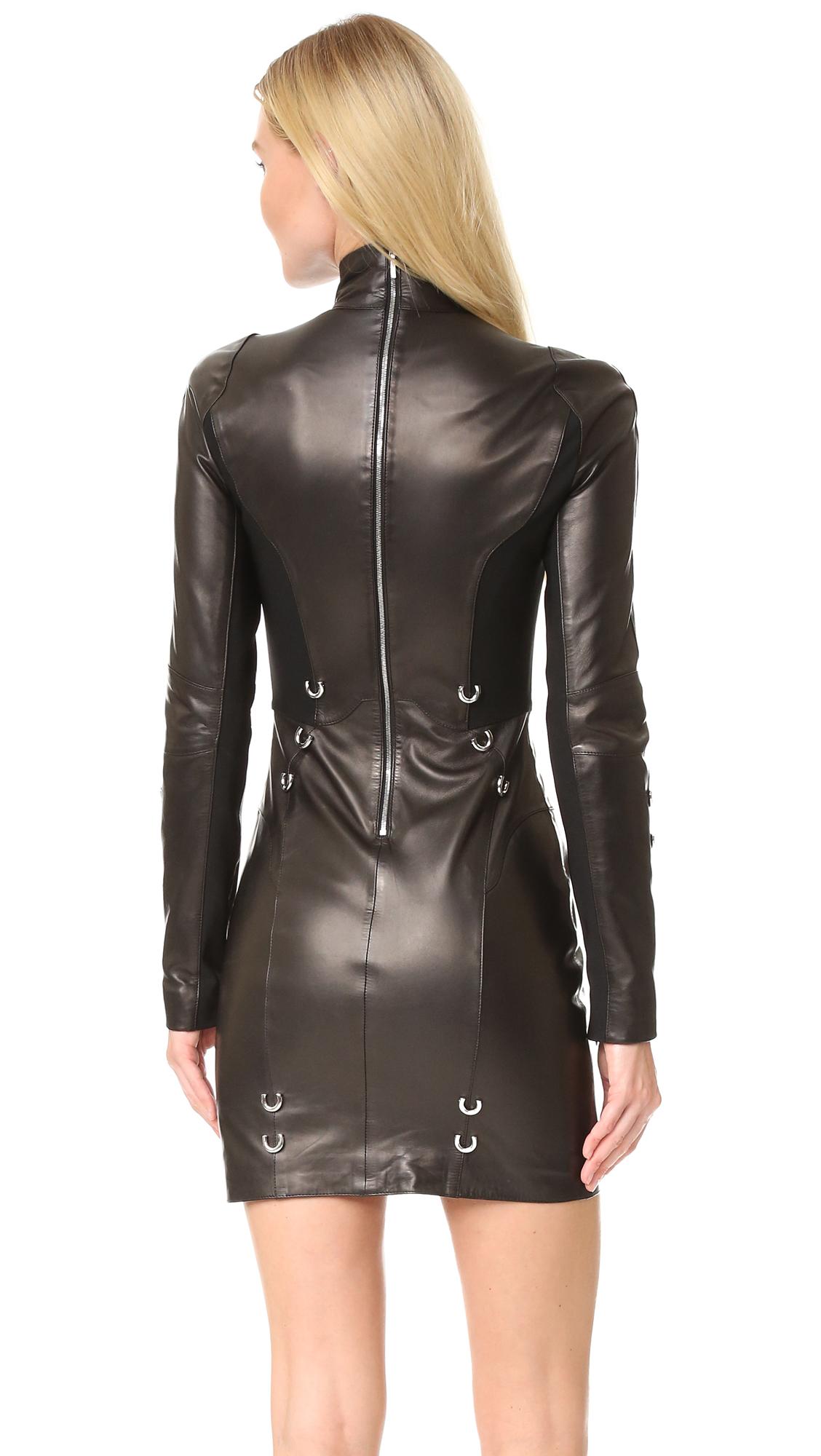 edabc42408ad0 Mugler Long Sleeve Leather Dress | SHOPBOP