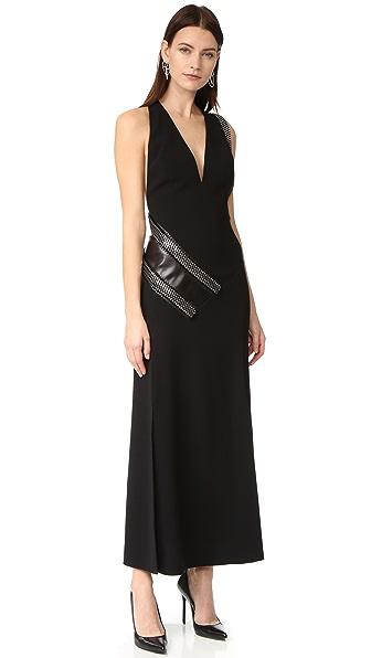 Mugler Вечернее платье с кожаной вставкой и цепочками панцирного плетения