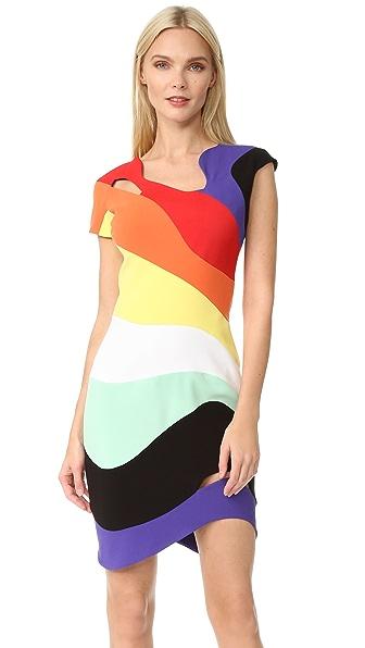 Mugler Платье Rainbow с короткими рукавами