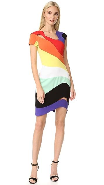 Mugler Short Sleeve Rainbow Dress