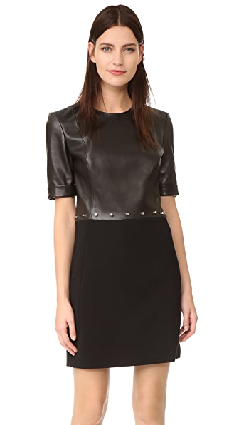 Mugler Short Sleeve Dress - Bi-Material Black