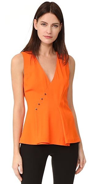 Mugler Sleeveless V Neck Top - Bright Lobster