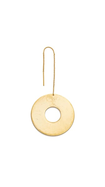 Modern Weaving Large Donut Dangler Single Earring - Brass