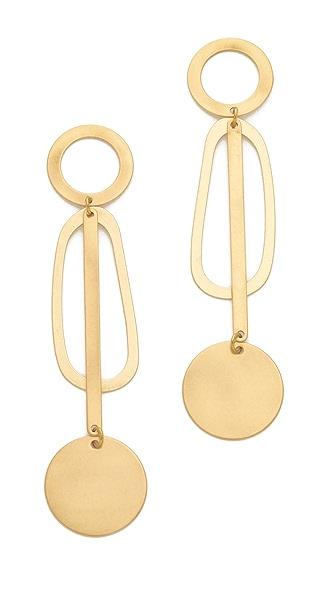 Modern Weaving Pendulum Earrings - Brass