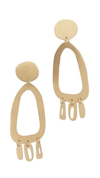 Modern Weaving Odd Oval Fringe Earrings - Brass