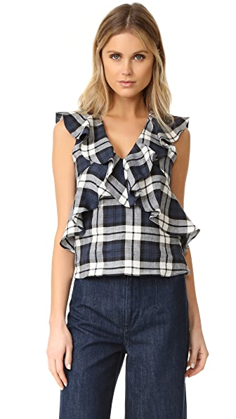 Marissa Webb Margeaux Plaid Top - Shadow