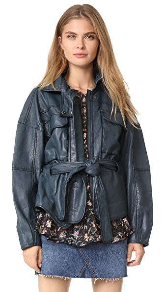 Marissa Webb Kayla Leather Anorak - Blue Sea