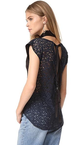 Marissa Webb Coralie Crepe & Lace Blouse In Black Combo