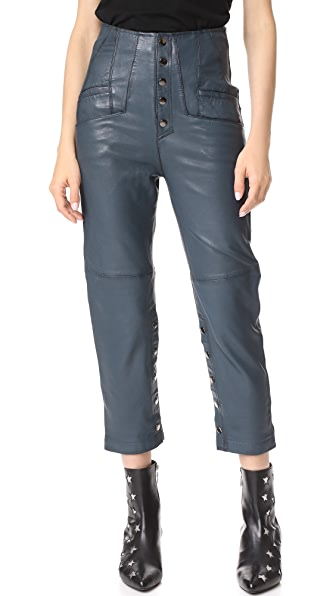 Marissa Webb Makayla Leather Pants - Blue Sea