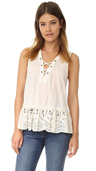 Maven West Kayla Lace Up Peplum Top In Cream
