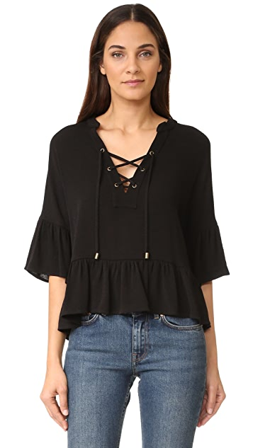 Maven West Haylee Lace Up Ruffle Top