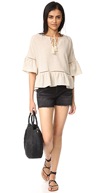 Maven West Ruffle Lattice Top