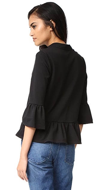 Maven West Lace Up Ruffle Top