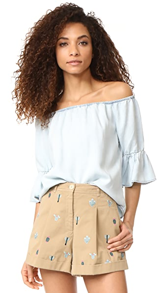 Maven West Sara Off Shoulder Ruffle Top