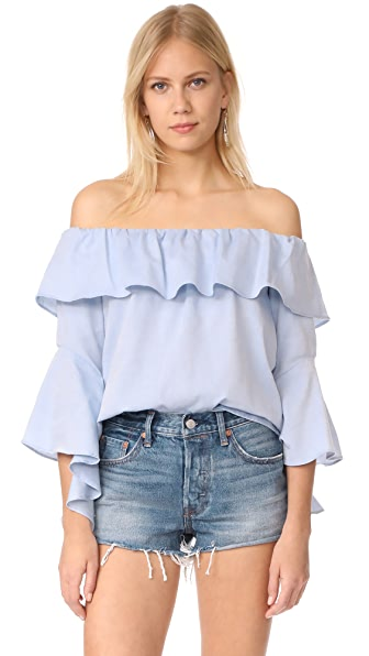 Maven West Off The Shoulder Ruffle Top - Chambray