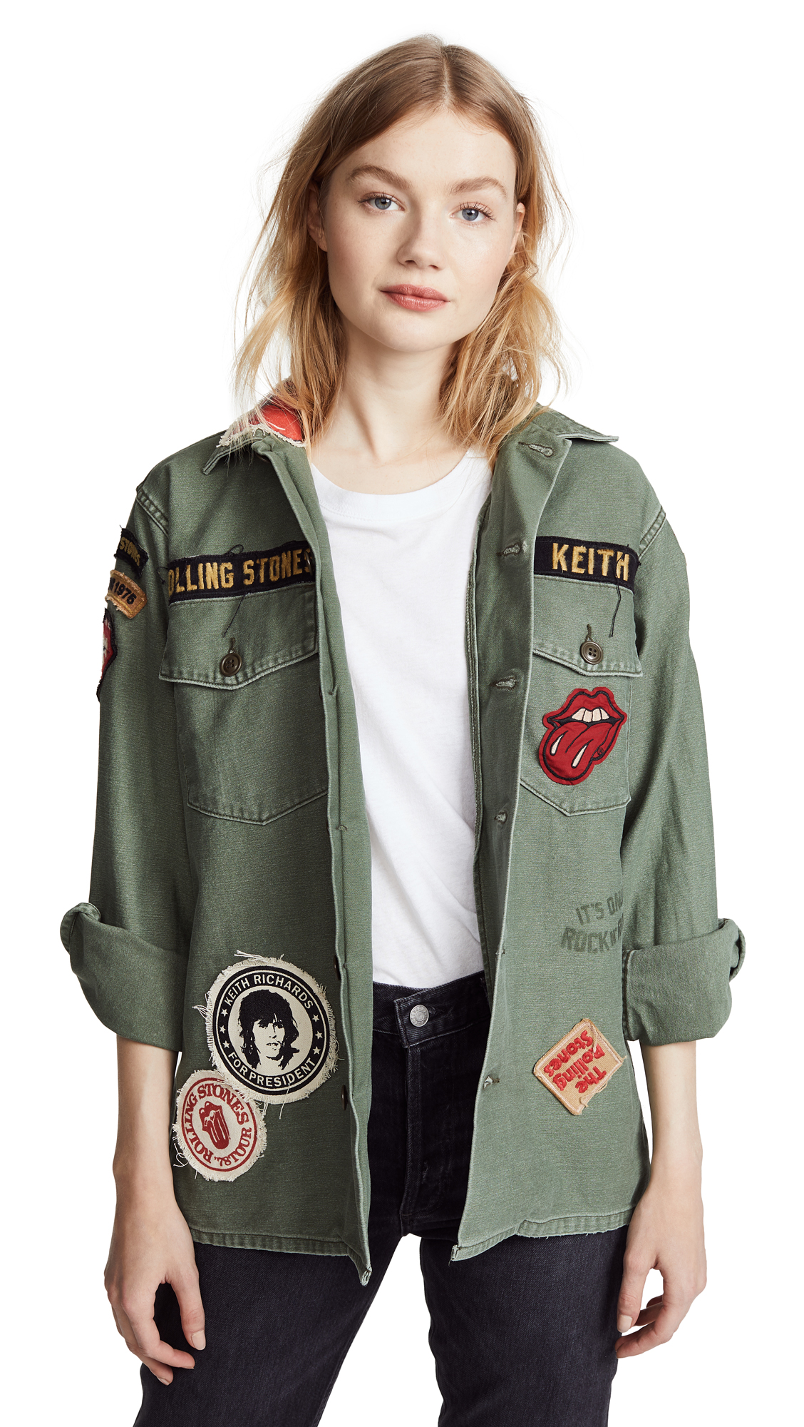 MADEWORN ROCK Rolling Stones 1975 Army Jacket In Army Green