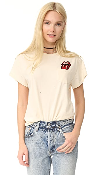 MADEWORN ROCK Rolling Stones Pocket Patch Tee In Dirty White